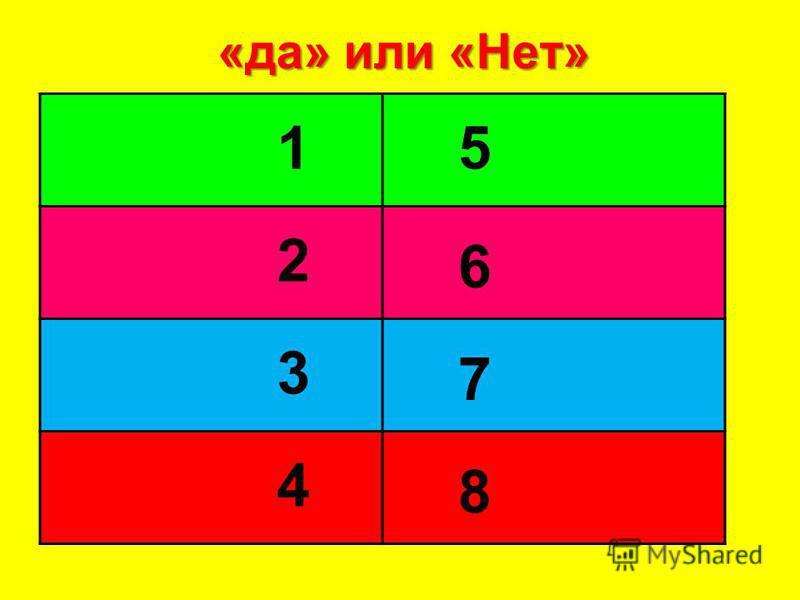 «да» или «Нет» 4 3 2 1 8 7 6 5 7