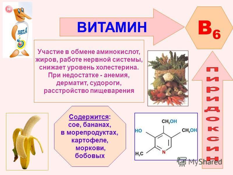 ВИТАМИН B6B6 Участие в обмене аминокислот, жиров, работе нервной системы, снижает уровень холестерина. При недостатке - анемия, дерматит, судороги, расстройство пищеварения Содержится: сое, бананах, в морепродуктах, картофеле, моркови, бобовых