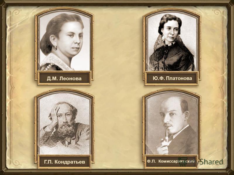 Г.П. Кондратьев Ф.П. Комиссаржевский Д.М. Леонова Ю.Ф. Платонова