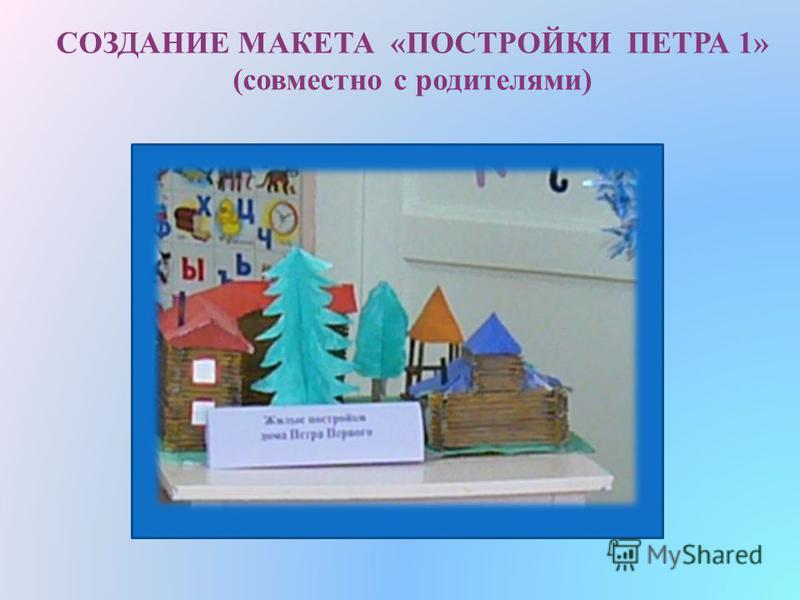 СОЗДАНИЕ МАКЕТА «ПОСТРОЙКИ ПЕТРА 1» (совместно с родителями)