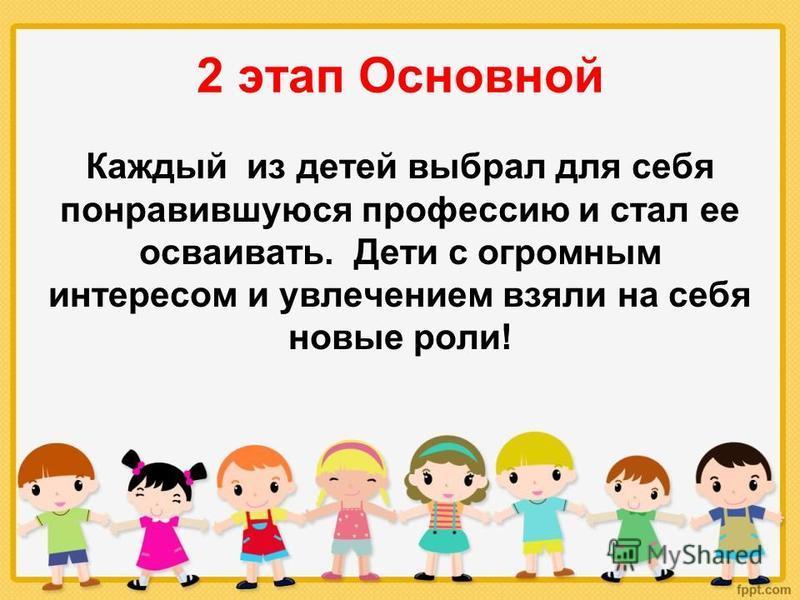 2 этап Основной Каждый из детей выбрал для себя понравившуюся профессию и стал ее осваивать. Дети с огромным интересом и увлечением взяли на себя новые роли!