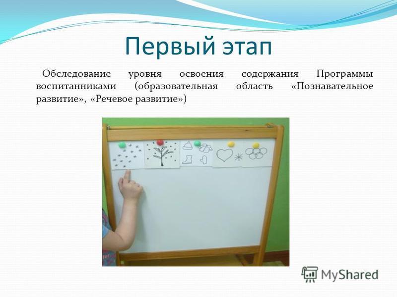 Первый этап Обследование уровня освоения содержания Программы воспитанниками (образовательная область «Познавательное развитие», «Речевое развитие»)