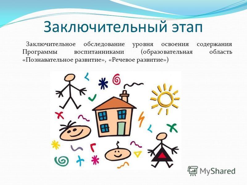 Заключительный этап Заключительное обследование уровня освоения содержания Программы воспитанниками (образовательная область «Познавательное развитие», «Речевое развитие»)