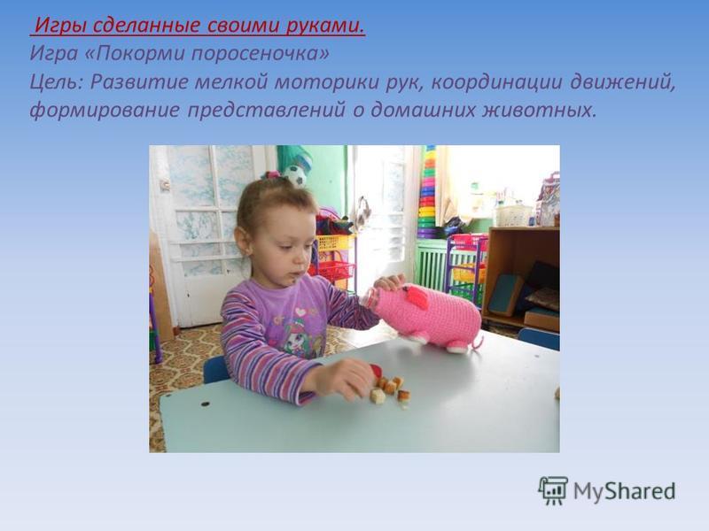 Игры сделанные своими руками. Игра «Покорми поросеночка» Цель: Развитие мелкой моторики рук, координации движений, формирование представлений о домашних животных.