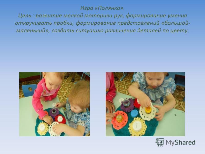 Игра «Полянка». Цель : развитие мелкой моторики рук, формирование умения откручивать пробки, формирование представлений «большой- маленький», создать ситуацию различения деталей по цвету.