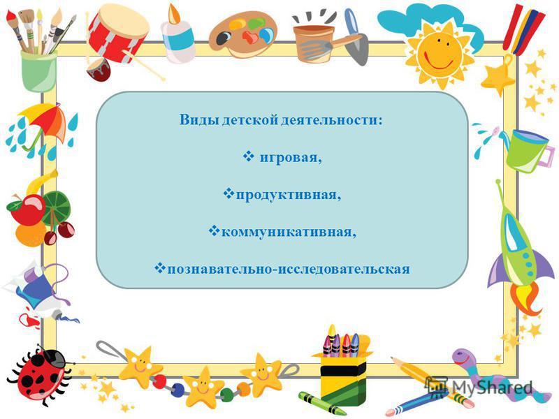 Виды детской деятельности: игровая, продуктивная, коммуникативная, познавательно-исследовательская.