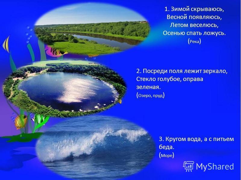 1. Зимой скрываюсь, Весной появляюсь, Летом веселюсь, Осенью спать ложусь. ( Река ) 2. Посреди поля лежит зеркало, Стекло голубое, оправа зеленая. ( Озеро, пруд ) 3. Кругом вода, а с питьем беда. ( Море )