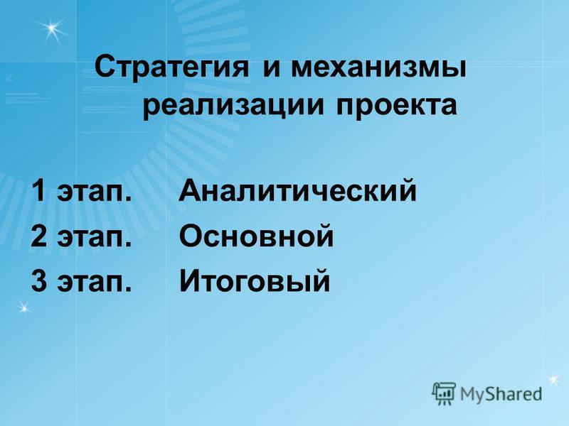 Стратегия и механизмы реализации проекта 1 этап. Аналитический 2 этап. Основной 3 этап. Итоговый