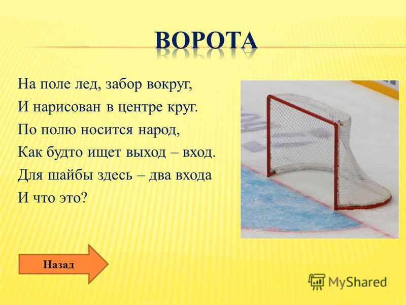 На поле лед, забор вокруг, И нарисован в центре круг. По полю носится народ, Как будто ищет выход – вход. Для шайбы здесь – два входа И что это? Назад