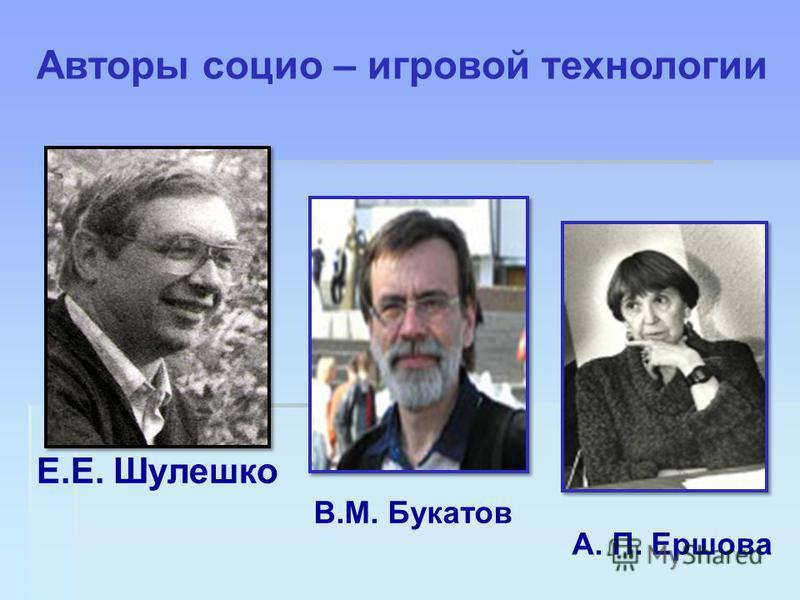 Е.Е. Шулешко В.М. Букатов А. П. Ершова Авторы социо – игровой технологии