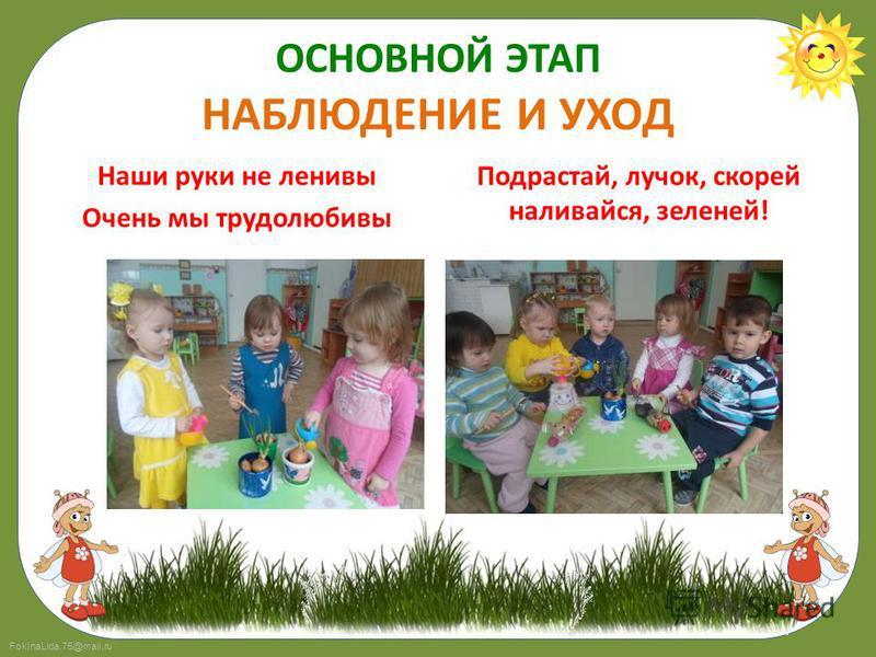 FokinaLida.75@mail.ru ОСНОВНОЙ ЭТАП НАБЛЮДЕНИЕ И УХОД Наши руки не ленивы Очень мы трудолюбивы Подрастай, лучок, скорей наливайся, зеленей!