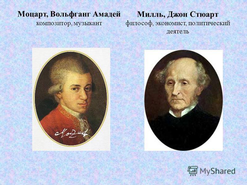 Моцарт, Вольфганг Амадей композитор, музыкант Милль, Джон Стюарт философ, экономист, политический деятель
