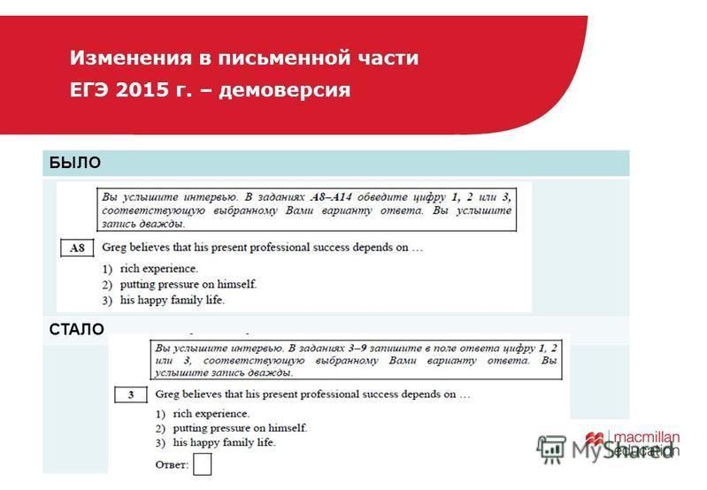 БЫЛО СТАЛО Изменения в письменной части ЕГЭ 2015 г. – демоверсия