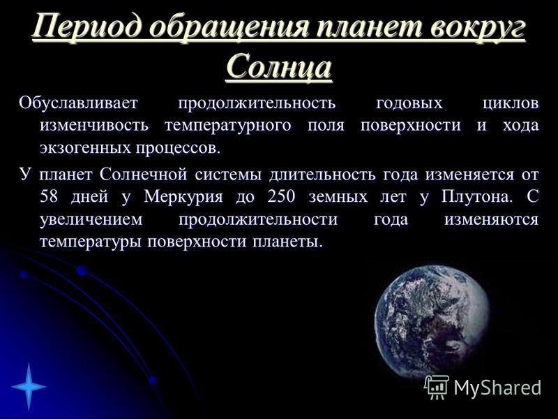 Период обращения планет вокруг Солнца Обуславливает продолжительность годовых циклов изменчивость температурного поля поверхности и хода экзогеных процессов. У планет Солнечной системы длительность года изменяется от 58 дней у Меркурия до 250 земных