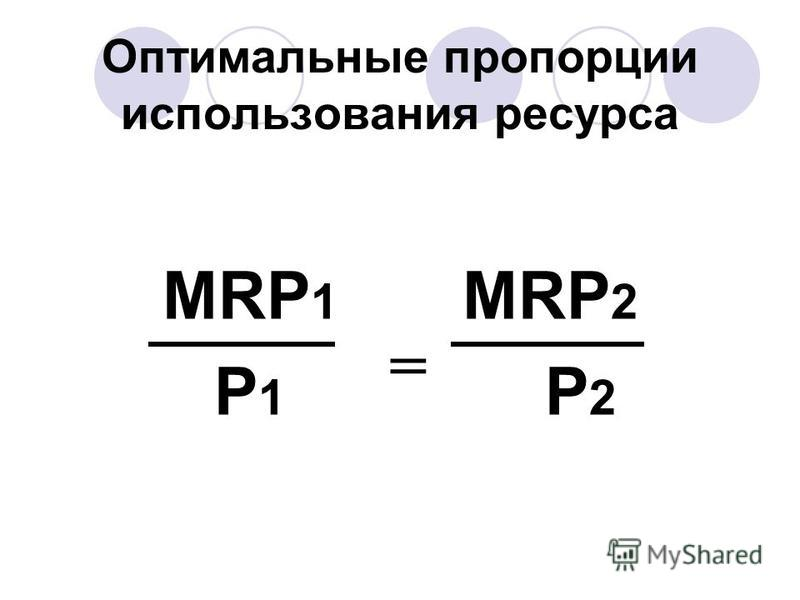 Оптимальные пропорции использования ресурса MRP 1 MRP 2 P 1 P 2 =