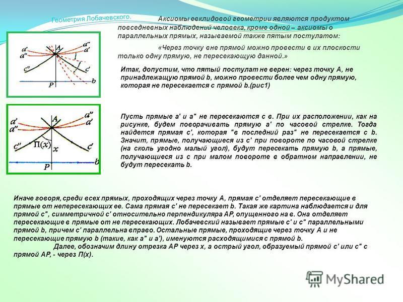 Итак, допустим, что пятый постулат не верен: через точку А, не принадлежащую прямой b, можно провести более чем одну прямую, которая не пересекается с прямой b.(рис 1) Аксиомы евклидовой геометрии являются продуктом повседневных наблюдений человека,