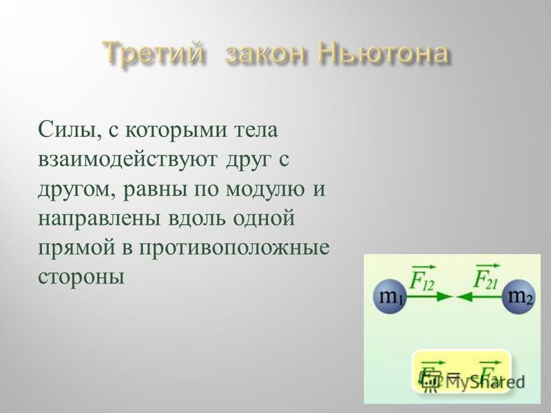 Силы, с которыми т ела взаимодействуют д руг с другом, р авны п о м одулю и направлены вдоль одной прямой в противоположные стороны