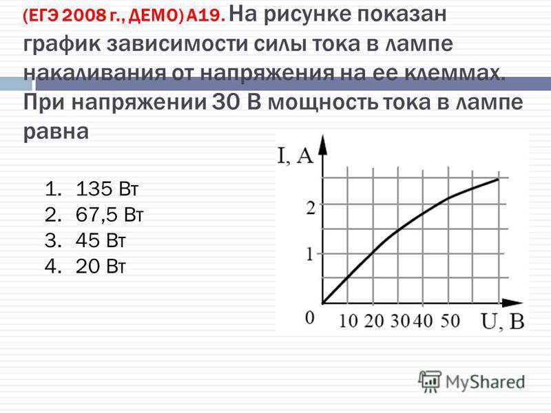 (ЕГЭ 2008 г., ДЕМО) А19. На рисунке показан график зависимости силы тока в лампе накаливания от напряжения на ее клеммах. При напряжении 30 В мощность тока в лампе равна 1.135 Вт 2.67,5 Вт 3.45 Вт 4.20 Вт
