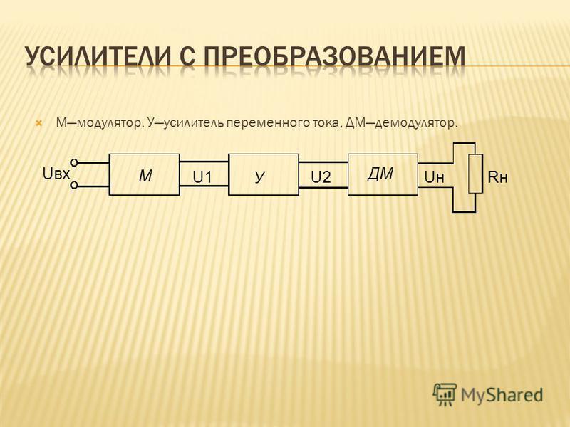 Ммодулятор. Уусилитель переменного тока, ДМдемодулятор. Rн Uн ДМ У М U2U1 Uвх