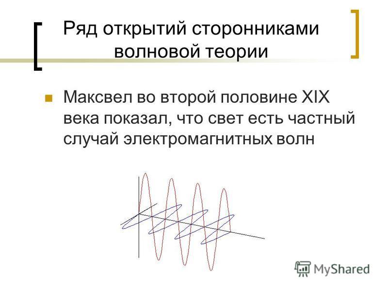 Ряд открытий сторонниками волновой теории Максвел во второй половине XIX века показал, что свет есть частный случай электромагнитных волн