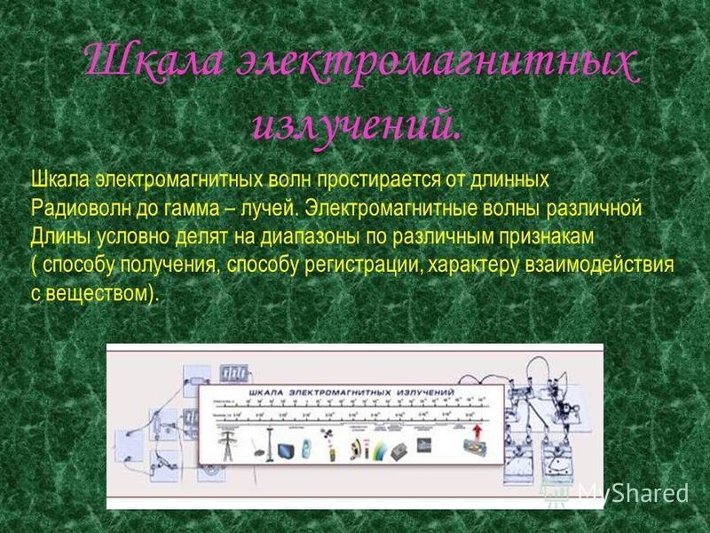 Шкала электромагнитных излучений Работу выполнили Студенты гр.С-2 Аккиев Ружди, Федотовский Александр