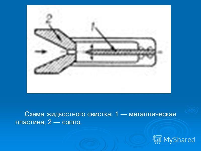 Схема жидкостного свистка: 1 металлическая пластина; 2 сопло.
