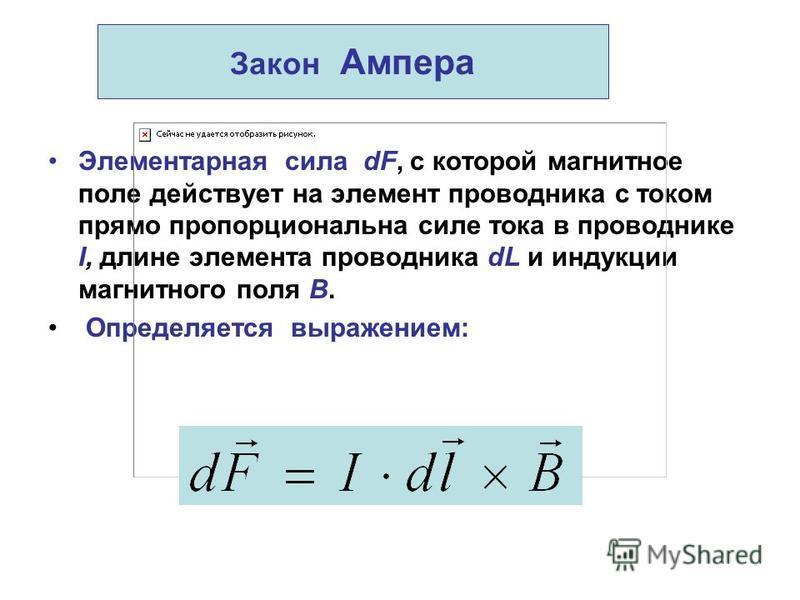 Закон Ампера Элементарная сила dF, с которой магнитное поле действует на элемент проводника с током прямо пропорциональна силе тока в проводнике I, длине элемента проводника dL и индукции магнитного поля В. Определяется выражением: