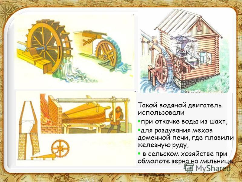 Верхнебойное и нижнебойное водяные колеса