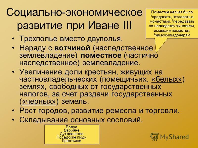 Социально-экономическое развитие при Иване III Трехполье вместо двуполья. Наряду с вотчиной (наследственное землевладение) поместное (частично наследственное) землевладение. Увеличение доли крестьян, живущих на частновладельческих (помещичьих, «белых
