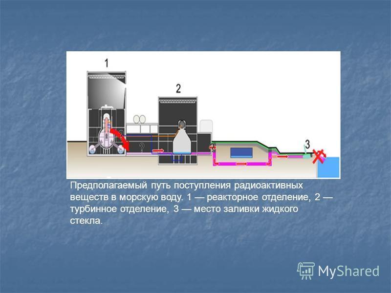Предполагаемый путь поступления радиоактивных веществ в морскую воду. 1 реакторное отделение, 2 турбинное отделение, 3 место заливки жидкого стекла.
