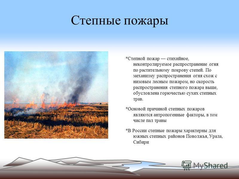 Степные пожарры *Степной пожарр стихийное, неконтролируемое распространение огня по растительному покрову степей. По механизму распространения огня схож с низовым лесным пожарром, но скорость распространения степного пожарра выше, обусловлена горючес