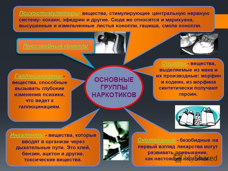 Психостимуляторы - вещества, стимулирующие центральную нервную систему- кокаин, эфедрин и другие. Сюда же относятся и марихуана, высушенные и измельченные листья конопли, гашиша, смола конопли. ОСНОВНЫЕ ГРУППЫ НАРКОТИКОВ Опиаты - вещества, выделяемые