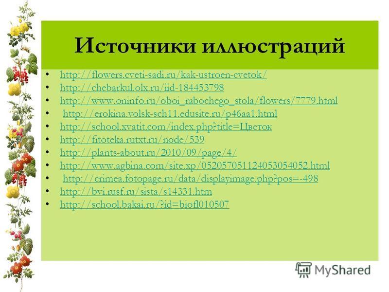 Источники иллюстраций http://flowers.cveti-sadi.ru/kak-ustroen-cvetok/ http://chebarkul.olx.ru/iid-184453798 http://www.oninfo.ru/oboi_rabochego_stola/flowers/7779. html http://erokina.volsk-sch11.edusite.ru/p46aa1. html http://school.xvatit.com/inde