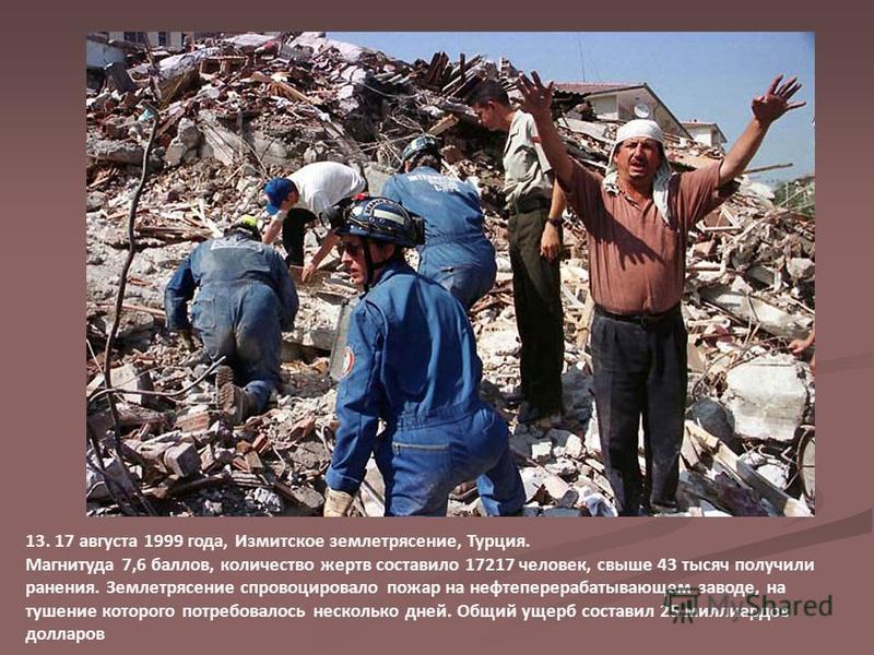13. 17 августа 1999 года, Измитское землетрясение, Турция. Магнитуда 7,6 баллов, количество жертв составило 17217 человек, свыше 43 тысяч получили ранения. Землетрясение спровоцировало пожар на нефтеперерабатывающем заводе, на тушение которого потреб