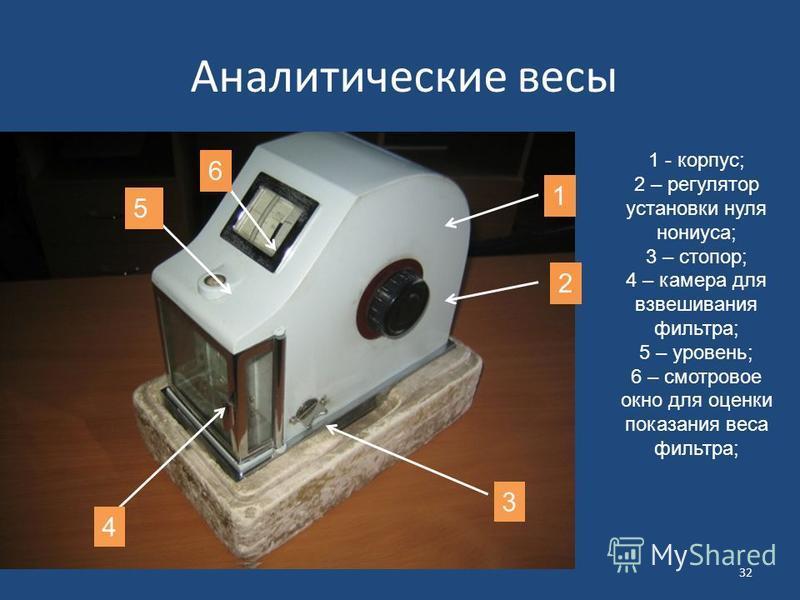 Аналитические весы 1 - корпус; 2 – регулятор установки нуля нониуса; 3 – стопор; 4 – камера для взвешивания фильтра; 5 – уровень; 6 – смотровое окно для оценки показания веса фильтра; 32 1 4 5 2 3 6