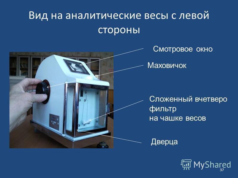 Вид на аналитические весы с левой стороны 37 Смотровое окно Маховичок Сложенный вчетверо фильтр на чашке весов Дверца