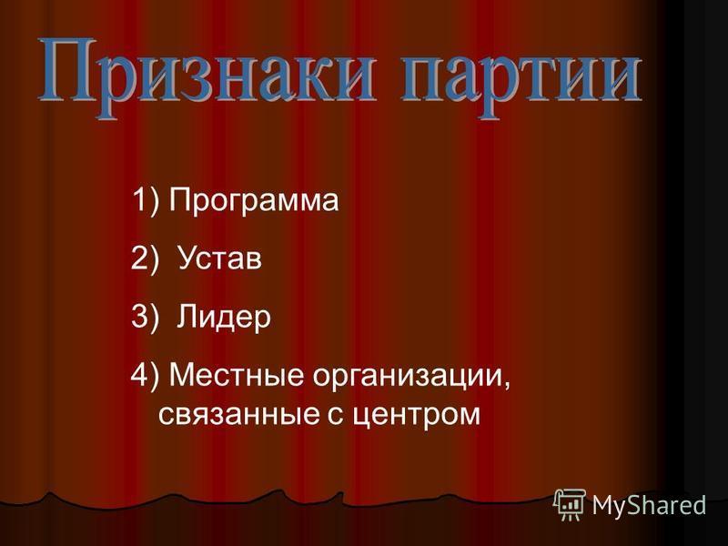 1) Программа 2) Устав 3) Лидер 4) Местные организации, связанные с центром