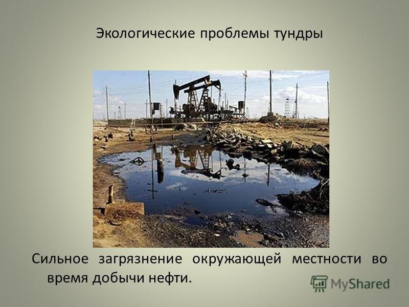 Экологические проблемы тундры Сильное загрязнение окружающей местности во время добычи нефти.