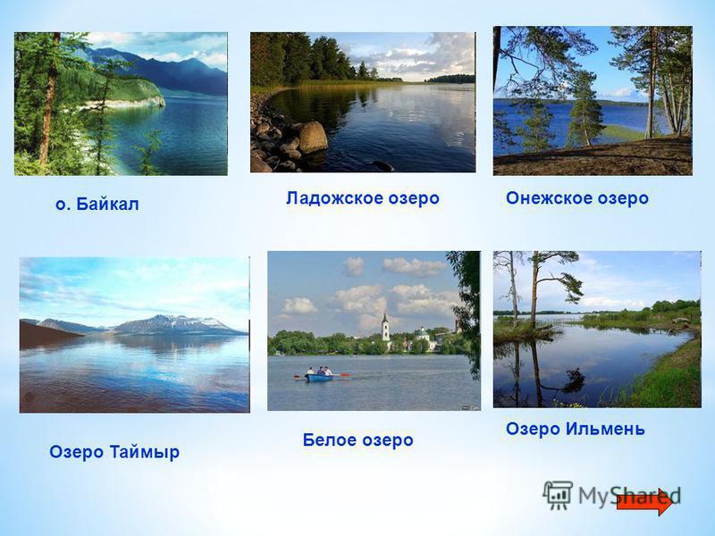 о. Байкал Ладожское озеро Онежское озеро Озеро Таймыр Белое озеро Озеро Ильмень