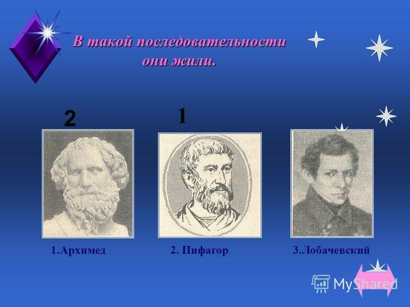 Все жили до нашей эры. 1.Архимед 2.Лобачевский 3.Пифагор