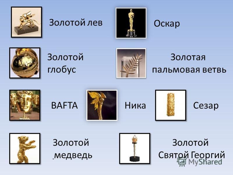 Золотой лев Золотой глобус BAFTA Золотой медведь Оскар Золотая пальмовая ветвь Ника Сезар Золотой Святой Георгий
