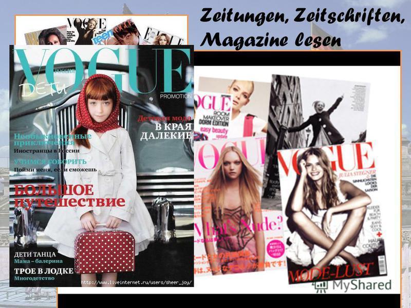 Zeitungen, Zeitschriften, Magazine lesen