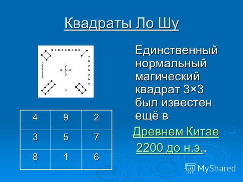 Квадраты Ло Шу Единственный нормальный магический квадрат 3×3 был известен ещё в Единственный нормальный магический квадрат 3×3 был известен ещё в Древнем Китае Древнем Китае Древнем Китае Древнем Китае 2200 до н.э.. 2200 до н.э..2200 до н.э.2200 до