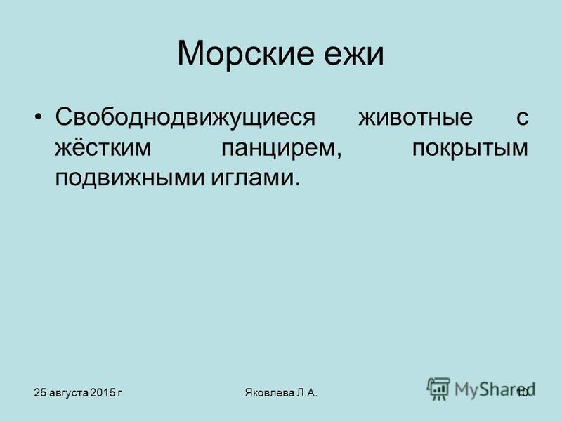 25 августа 2015 г.Яковлева Л.А.10 Морские ежи Свободнодвижущиеся животные с жёстким панцирем, покрытым подвижными иглами.