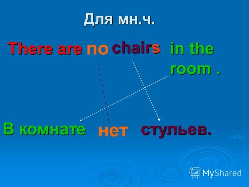 Для мн.ч. There are chairs in the room. В комнате стульев. no нет
