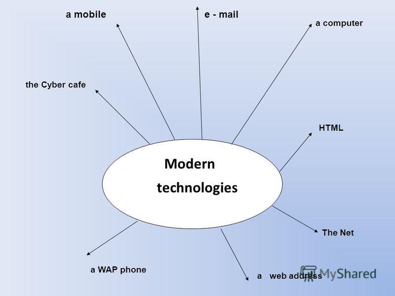 Modern technologies a mobilee - mail a computer HTML The Net a web address a WAP phone the Cyber cafe