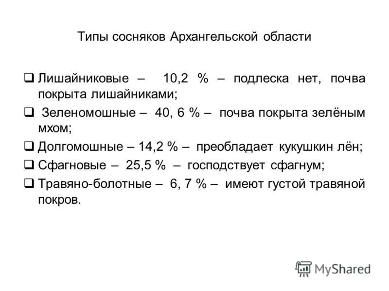 Типы сосняков Архангельской области Лишайниковые – 10,2 % – подлеска нет, почва покрыта лишайниками; Зеленомошные – 40, 6 % – почва покрыта зелёным мхом; Долгомошные – 14,2 % – преобладает кукушкин лён; Сфагновые – 25,5 % – господствует сфагнум; Трав