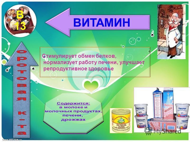 ВИТАМИН Стимулирует обмен белков, нормализует работу печени, улучшает репродуктивное здоровье В 13
