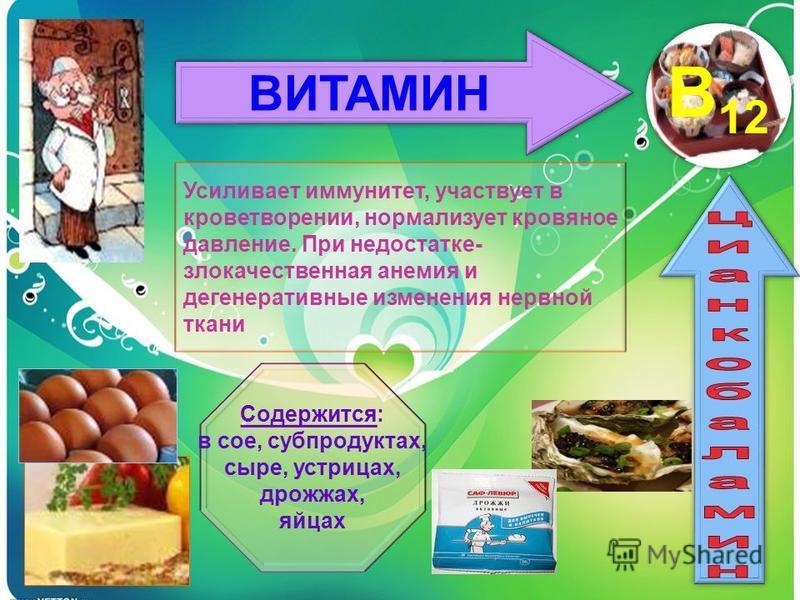 ВИТАМИН B12 Усиливает иммунитет, участвует в кроветворении, нормализует кровяное давление. При недостатке- злокачественная анемия и дегенеративные изменения нервной ткани Содержится: в сое, субпродуктах, сыре, устрицах, дрожжах, яйцах