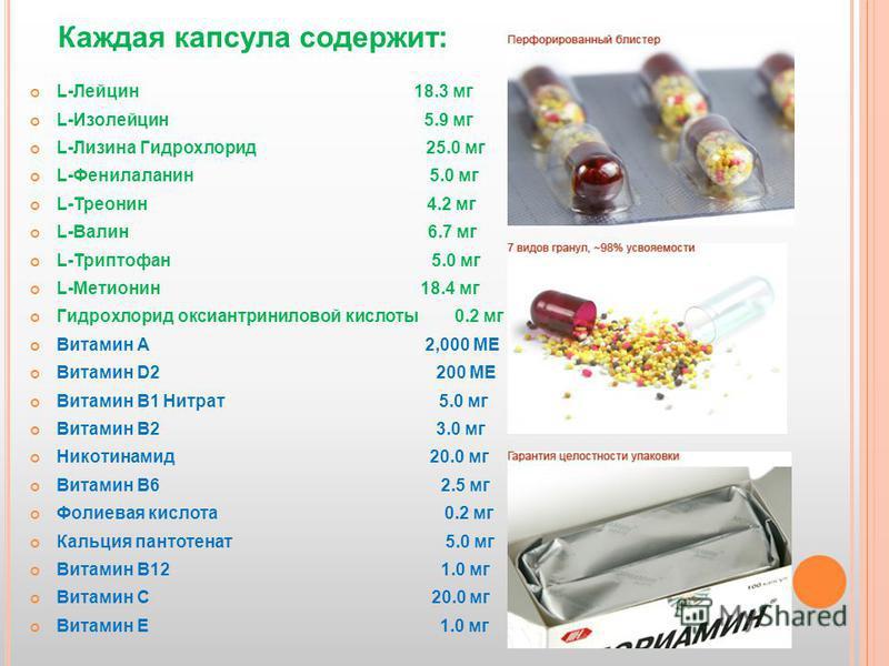 L-Лейцин 18.3 мг L-Изолейцин 5.9 мг L-Лизина Гидрохлорид 25.0 мг L-Фенилаланин 5.0 мг L-Треонин 4.2 мг L-Валин 6.7 мг L-Триптофан 5.0 мг L-Метионин 18.4 мг Гидрохлорид оксиантриниловой кислоты 0.2 мг Витамин A 2,000 ME Витамин D2 200 ME Витамин B1 Ни